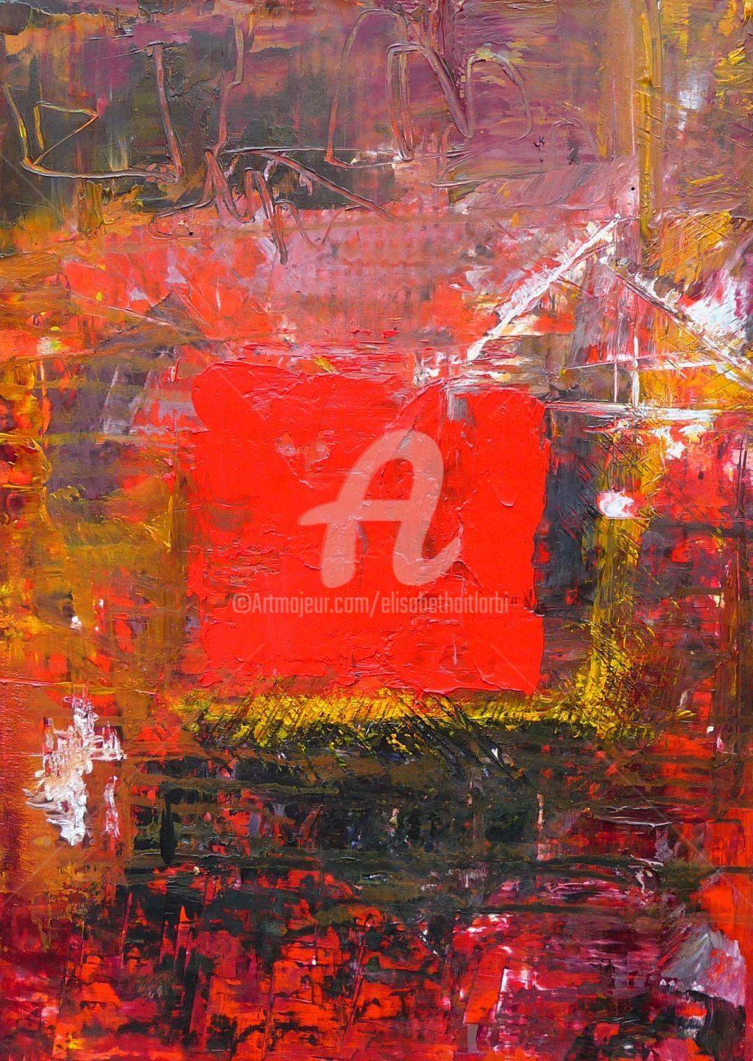 Elisabeth Ait Larbi-Mangourny - carré rouge huile-sur-carton